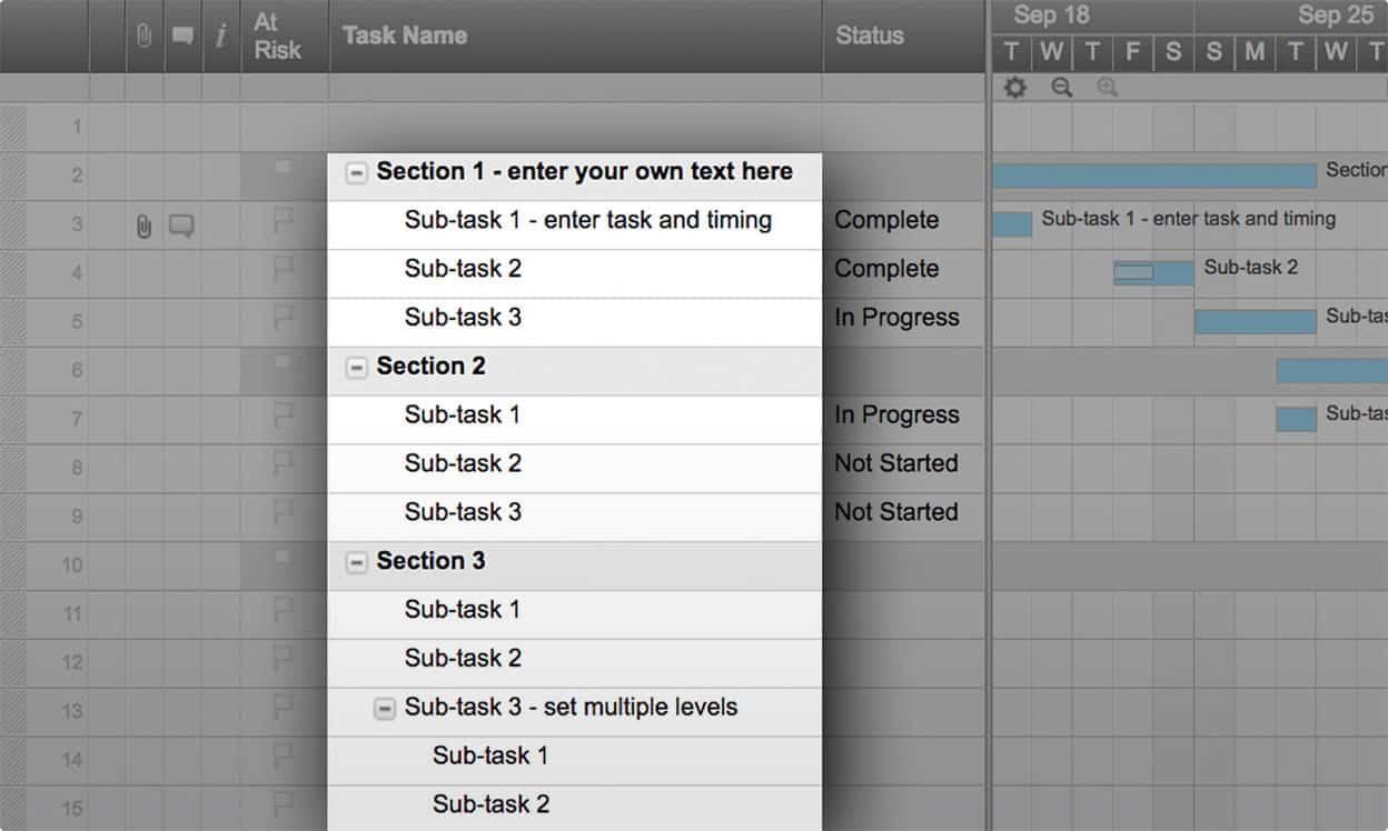 smartsheet template task names
