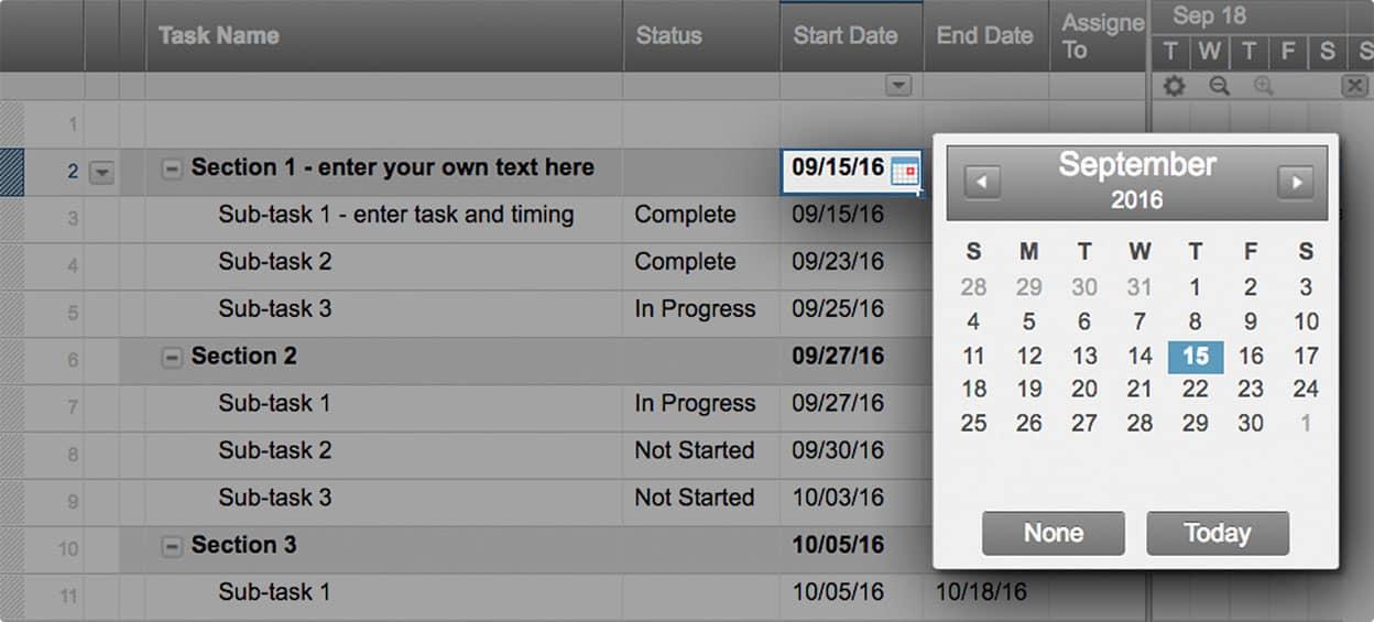 smartsheet gantt chart template calendar