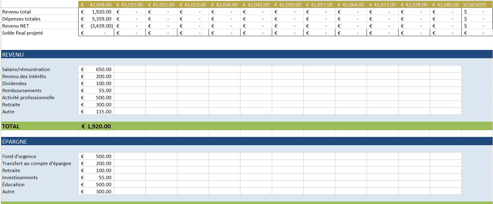 Mod 232 Les Divers De Budget Gratuit Dans Excel