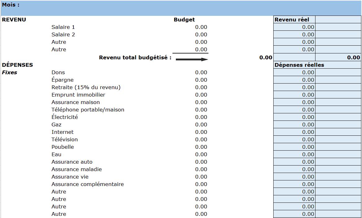 Mod les divers de budget gratuit dans excel for Calcul budget maison