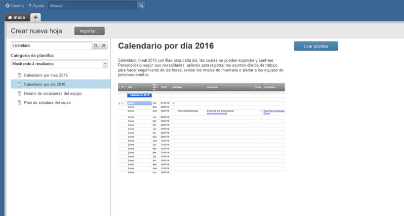 liste la informacin de su calendario