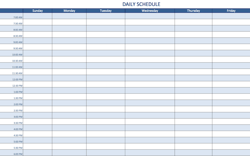 2 DailyScheduleTemplateExcel EN.png. A Daily Schedule Template ...  Daily Schedule Template
