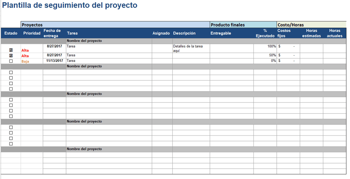 project tracker excel es