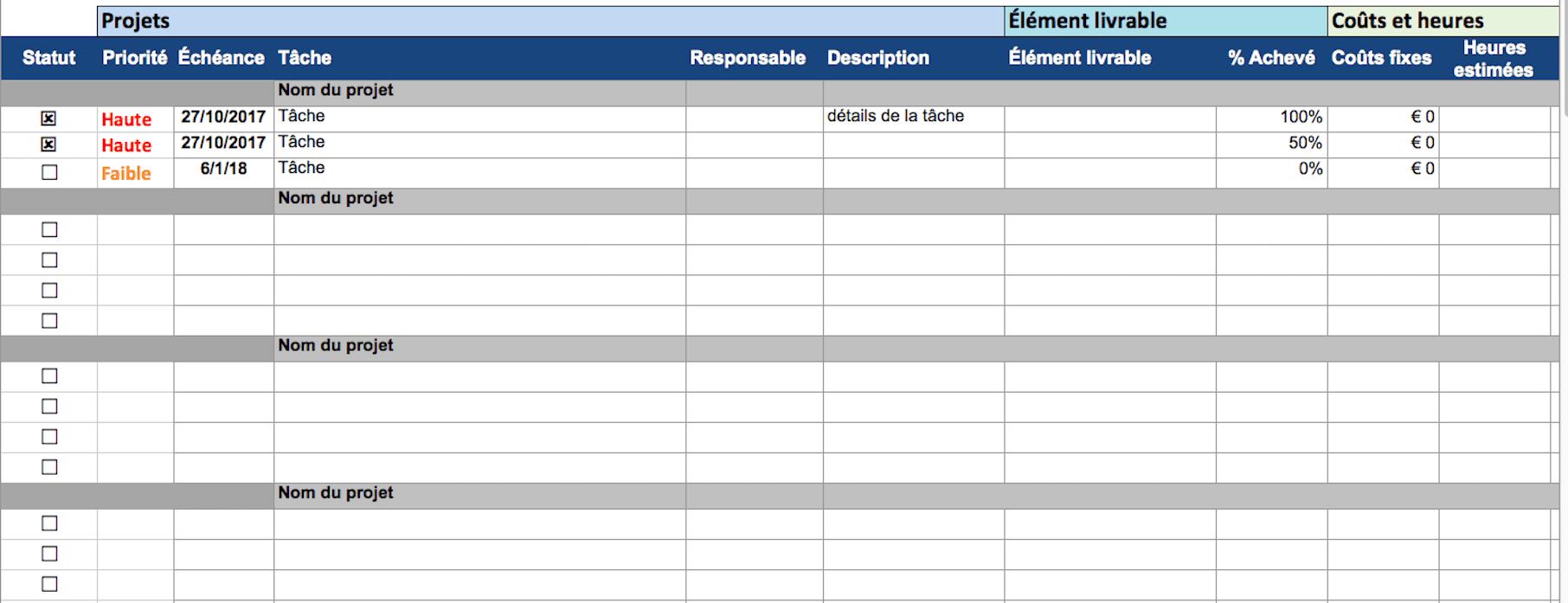 Favori Modèles de gestion de projet gratuits dans Excel RP57