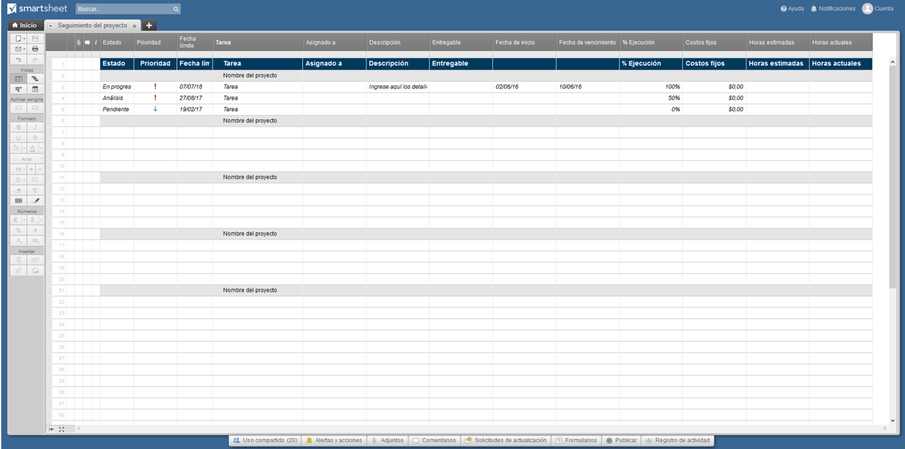 Project Tracker Smartsheet ES
