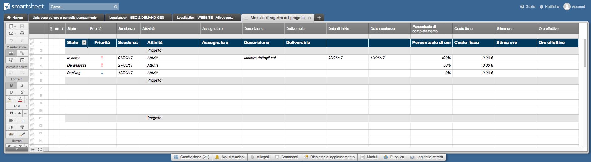 Project Tracker Smartsheet IT