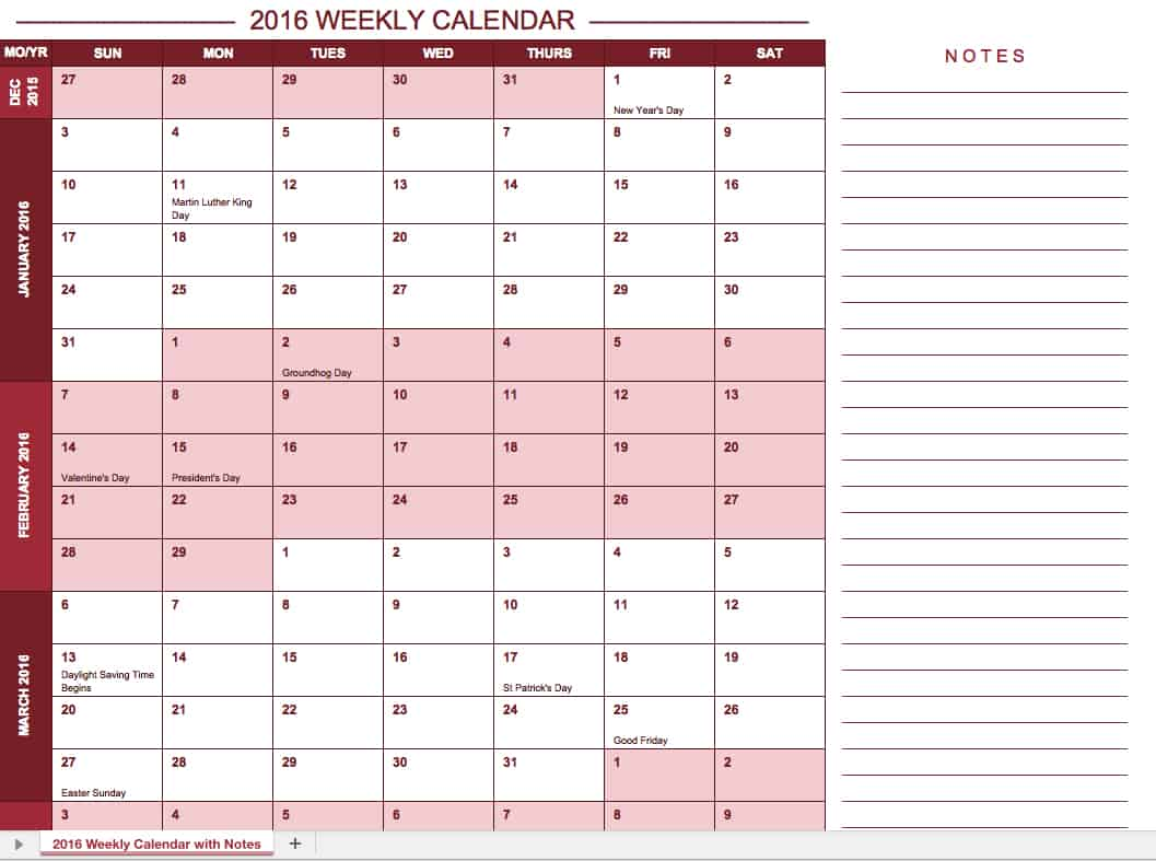 Calendar Templates With Notes : Free excel calendar templates
