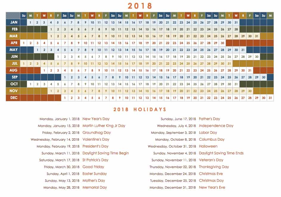 2018 yearly calendar template with months in rows