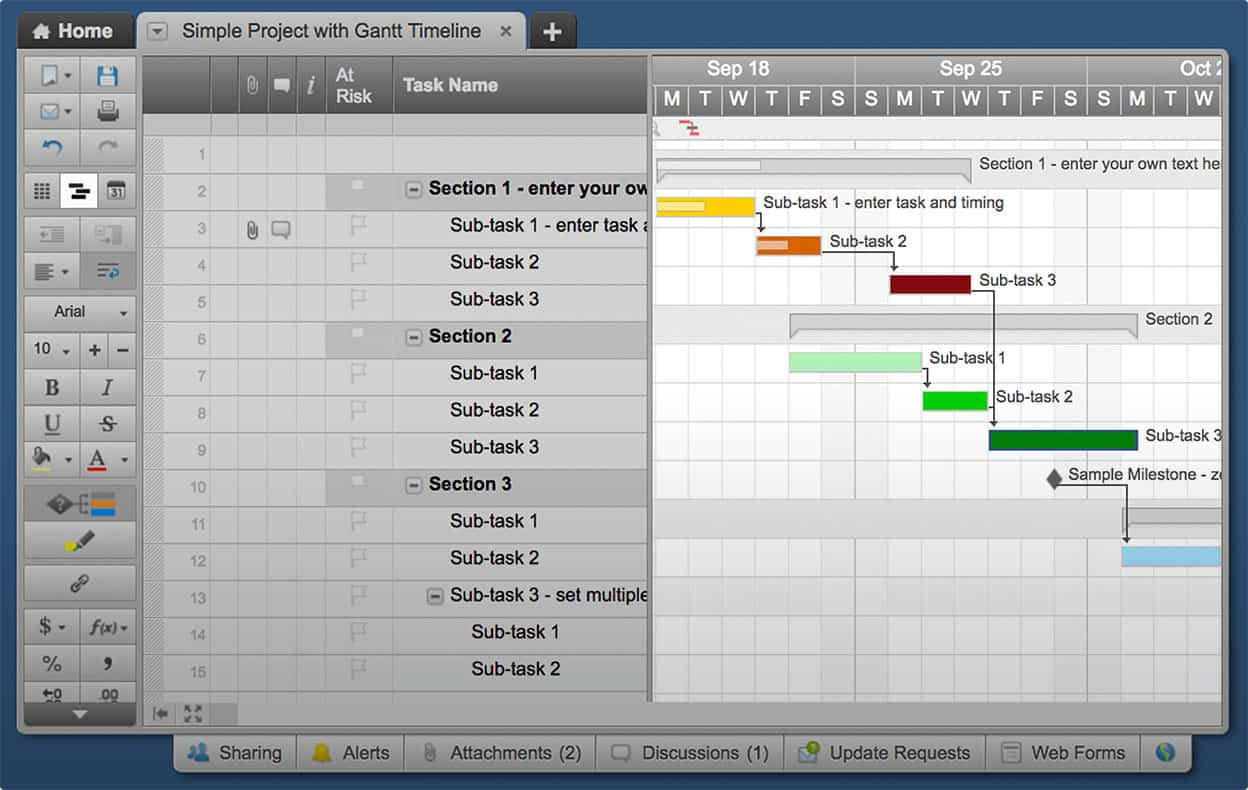 Use this free gantt chart excel template smartsheet gantt chart view nvjuhfo Gallery