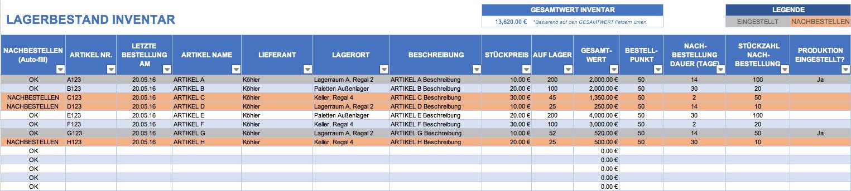 Kostenlose Excel Inventar Vorlagen