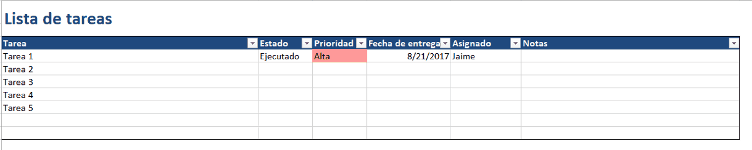 To Do List Excel ES