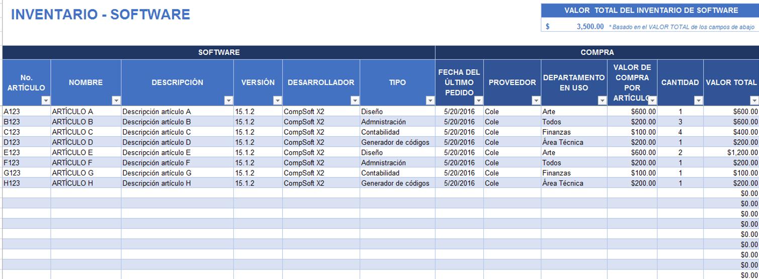 Plantillas gratis de inventario en Excel Smartsheet