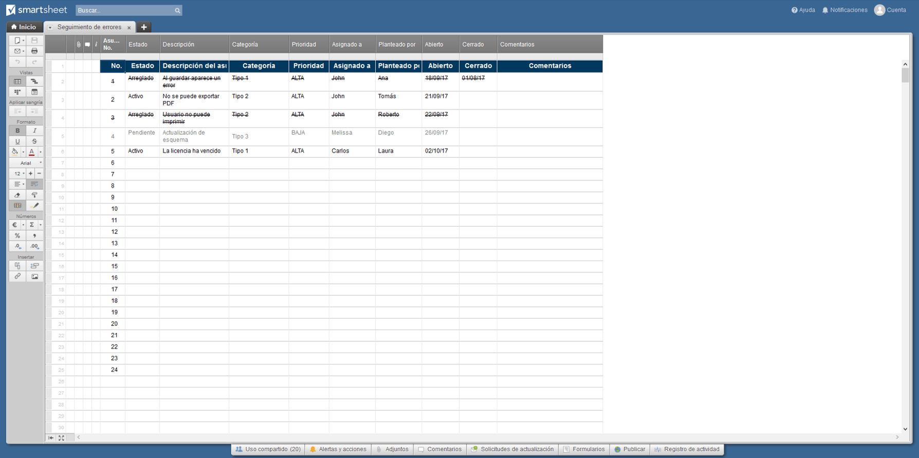Issue Tracker Smartsheet ES