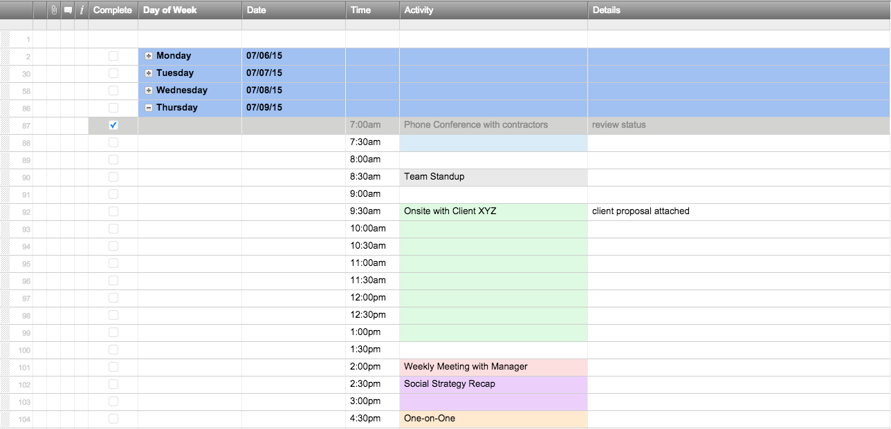 Free Excel Schedule Templates for Schedule Makers – Monday to Sunday Schedule Template