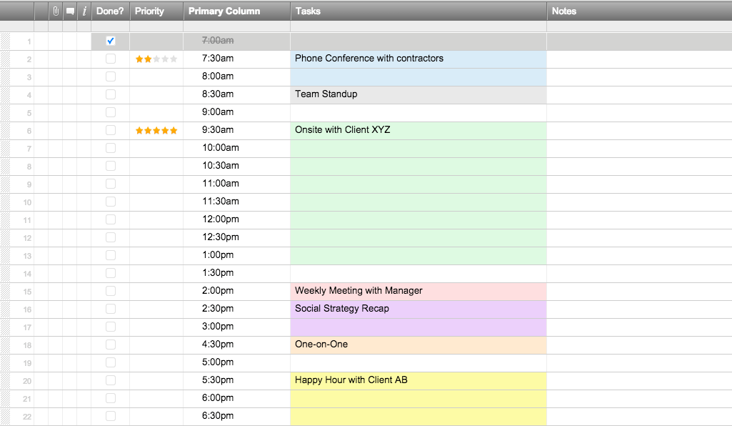 Daily Schedule Templates In Smartsheet