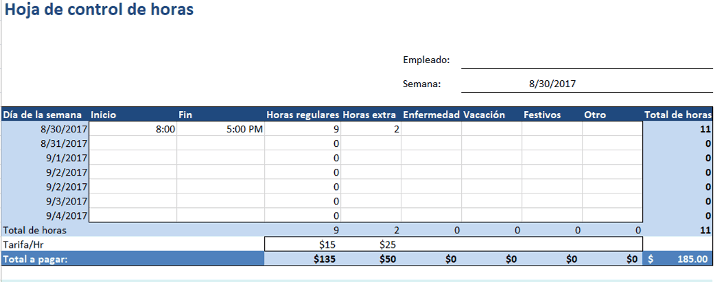 Project Timesheet Excel ES