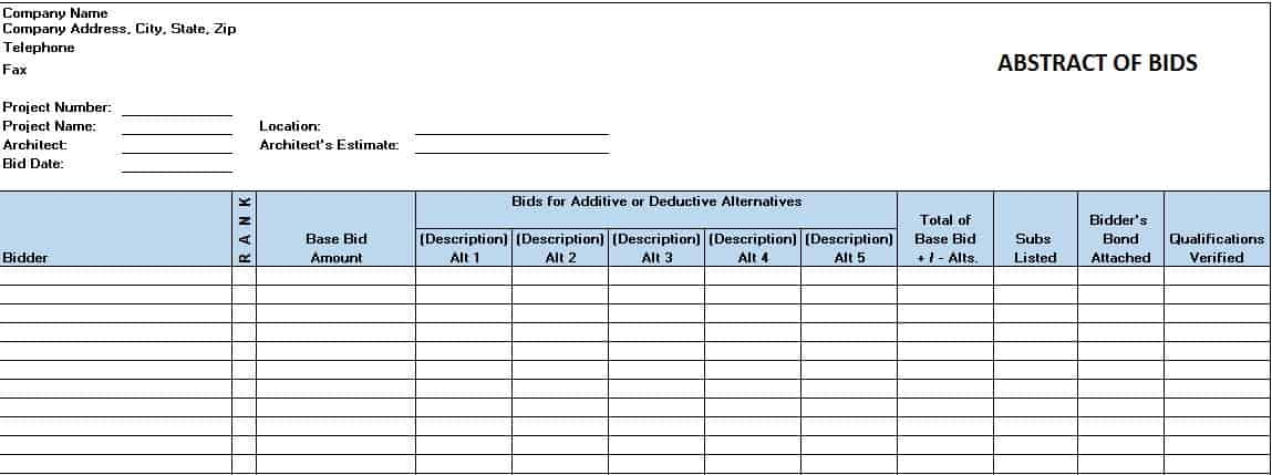 Abstract Of Bids Template  Free Construction Project Management Templates