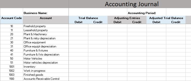 Accounting Journal Template  General Ledger Template