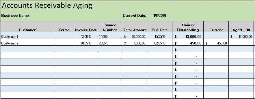Accounts Receivable Template  Income Statement Spreadsheet