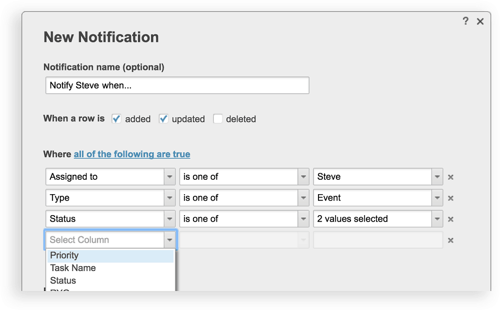 New Notification with Multiple Conditions