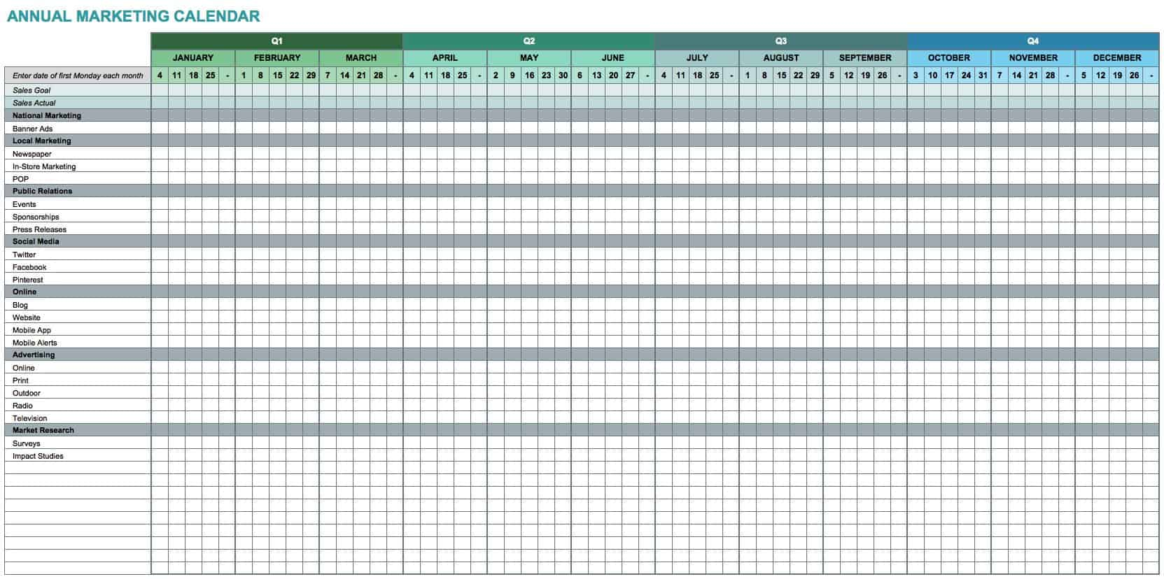 9 Free Marketing Calendar Templates for Excel Smartsheet – Sample Marketing Timeline