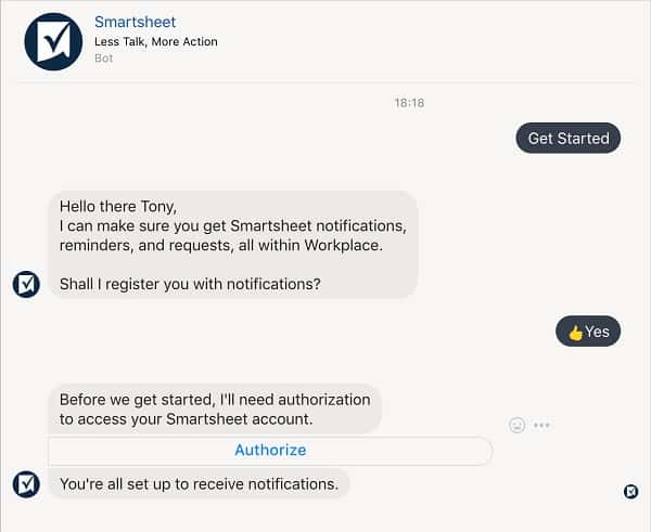 Authorize Smartsheet for Workplace by Facebook