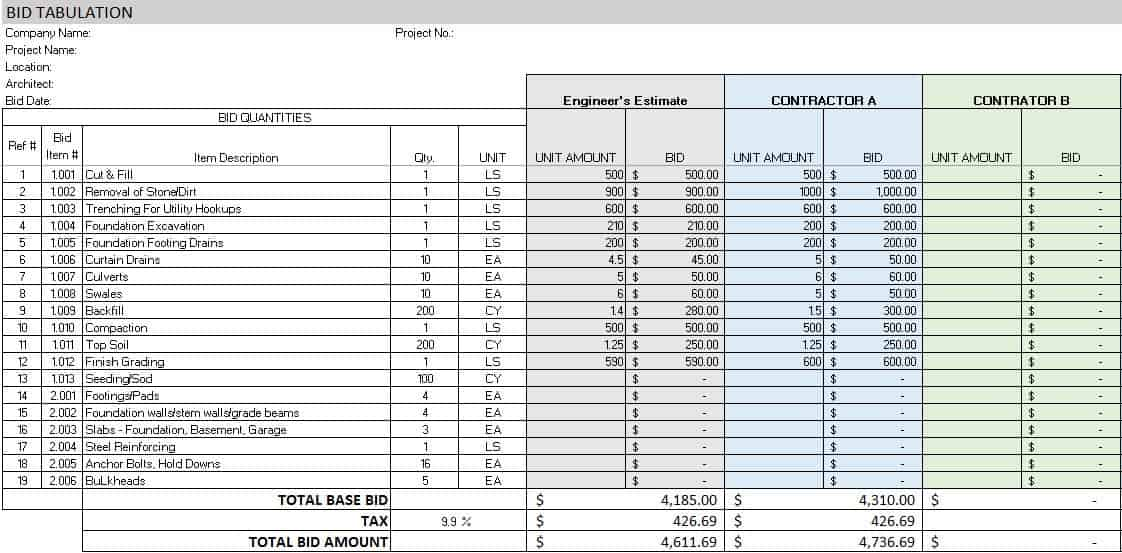 Bid Tabulation Template  Bid Format