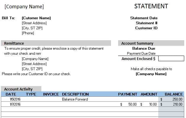 Billing Statement Template  Bill Statement Template