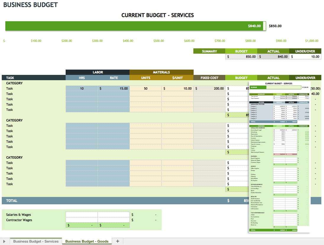 microsoft office templates smartsheet simply enter your data and the template will calculate totals as well as the difference between your projected budget and actual costs