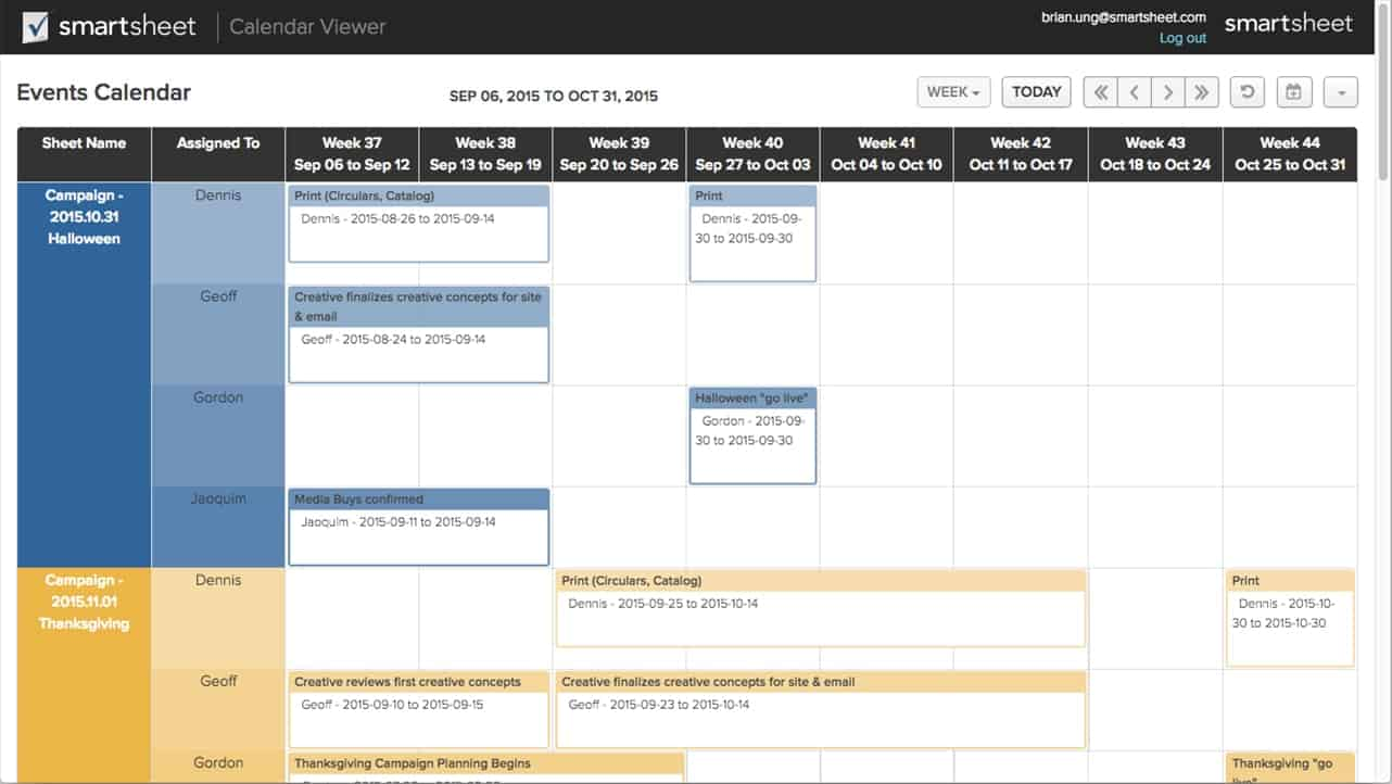 calendar application by smartsheet
