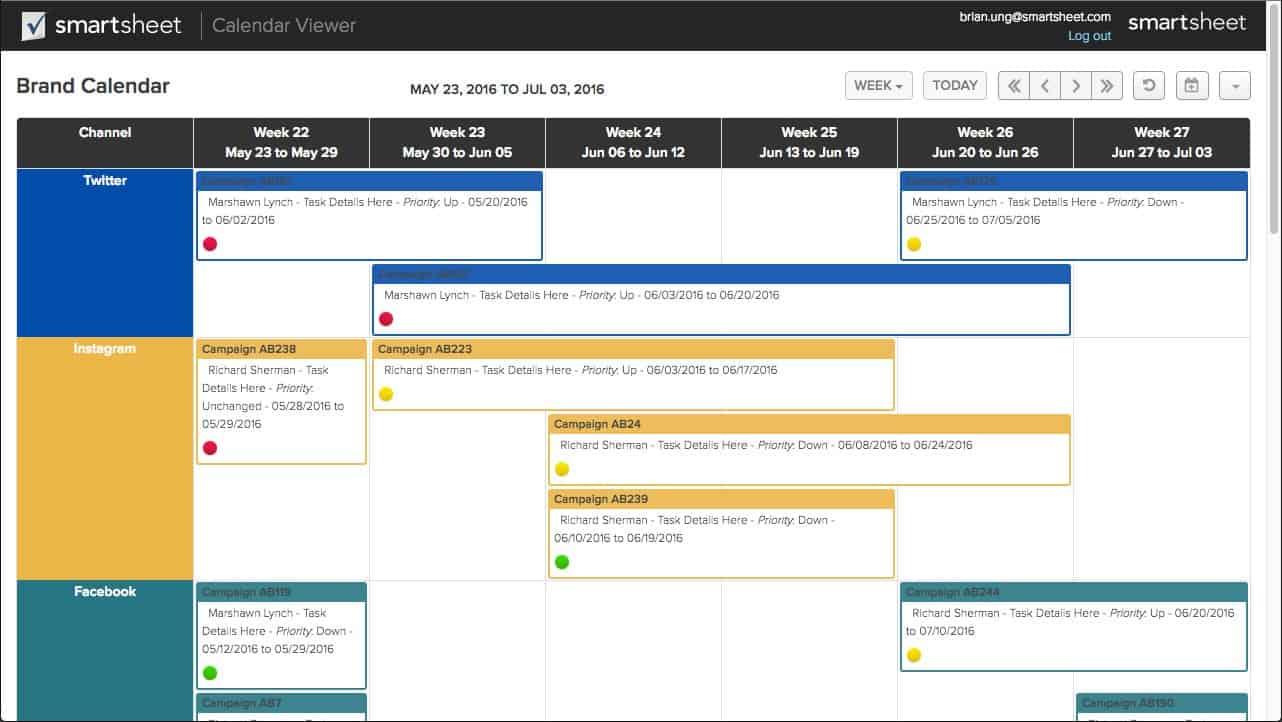 calendar application by smartsheet