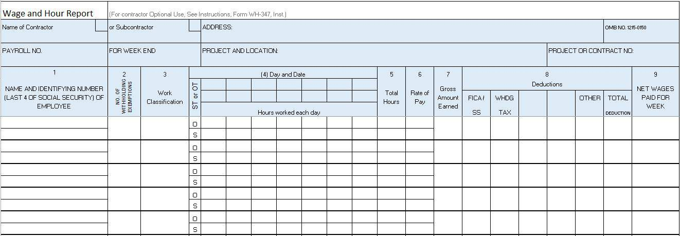 Certified Wage U0026 Hour Payroll Form  Progress Sheet Template