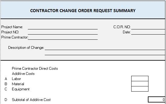 Change Order Request Summary  Construction Site Report Template