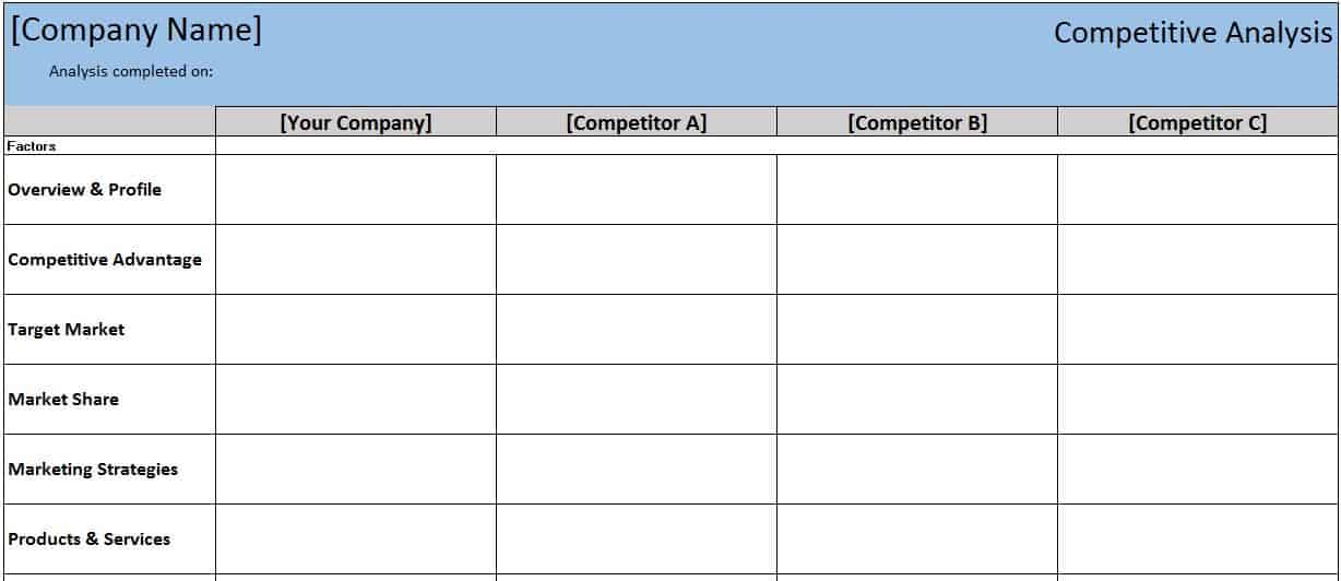 Free Financial Templates in Excel – Competitor Matrix Template