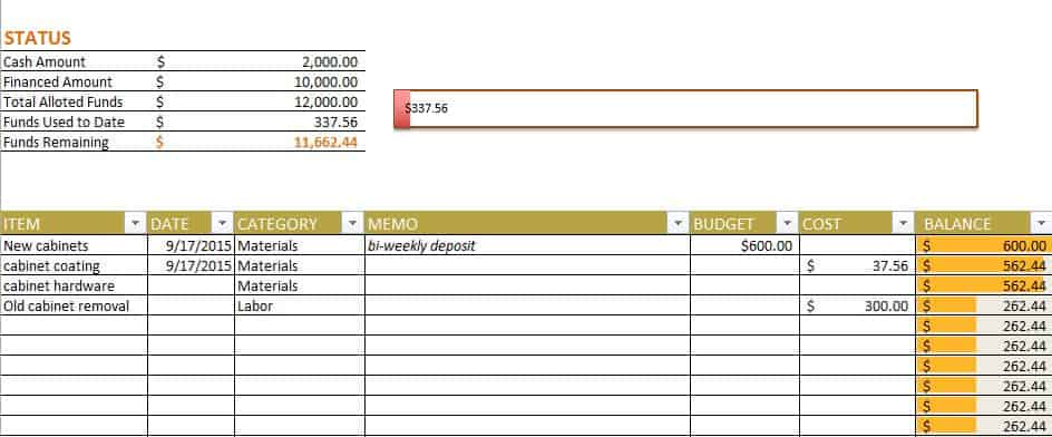 new home construction spreadsheet budget