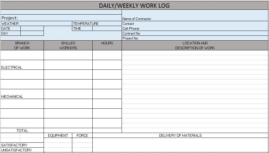 Sample Log Sheet DailyWeeklyWorkLog Jpg Free Construction