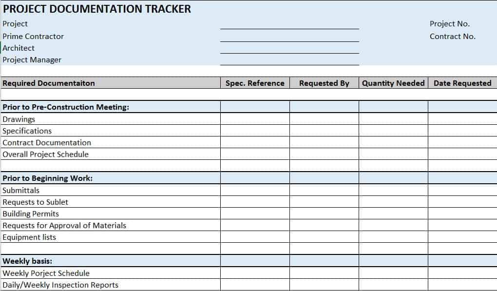 Free construction project management templates in excel construction documentation tracker pronofoot35fo Image collections