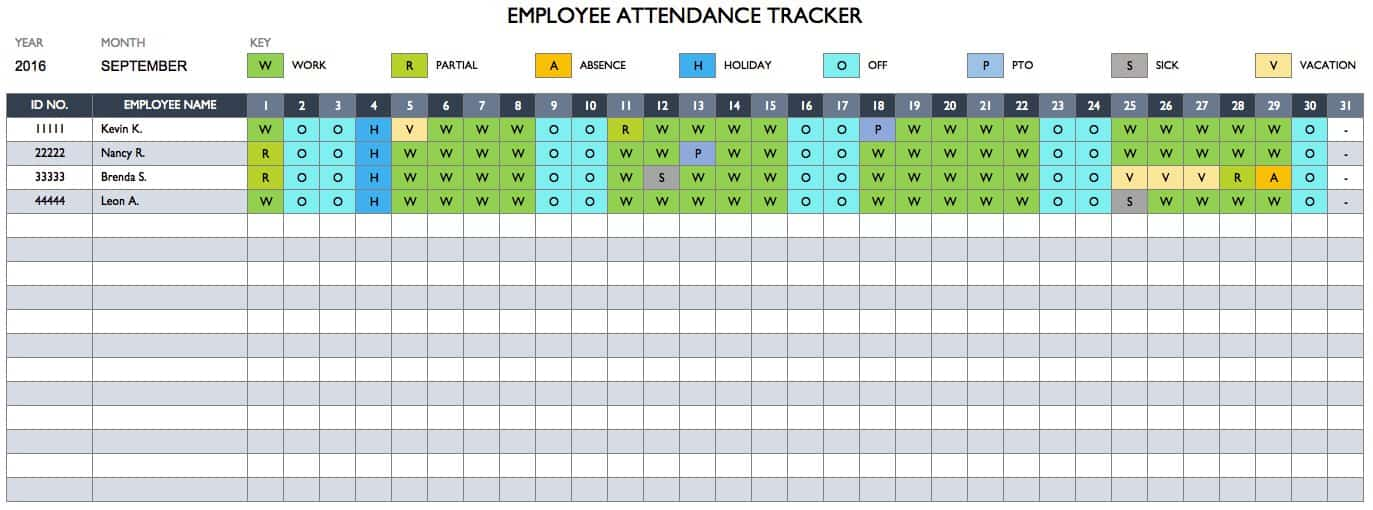 Free Employee Performance Review Templates Smartsheet – Sample Attendance Tracking