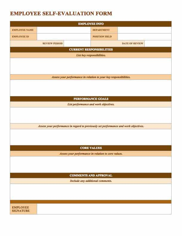 Free Employee Performance Review Templates Smartsheet – Performance Appraisal Form Format