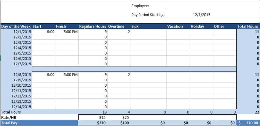Time Log Templates EmployeeTimesheet Jpg Free Human Resources