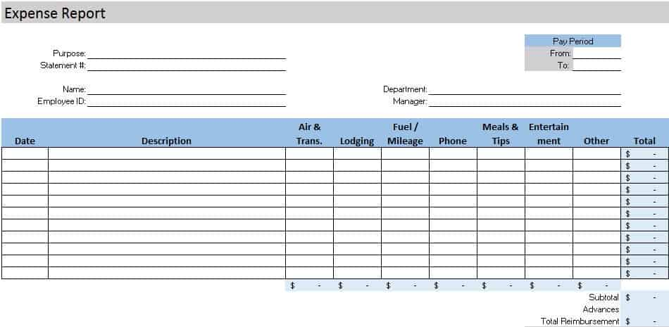Free Accounting Templates in Excel – Expense Report Templates