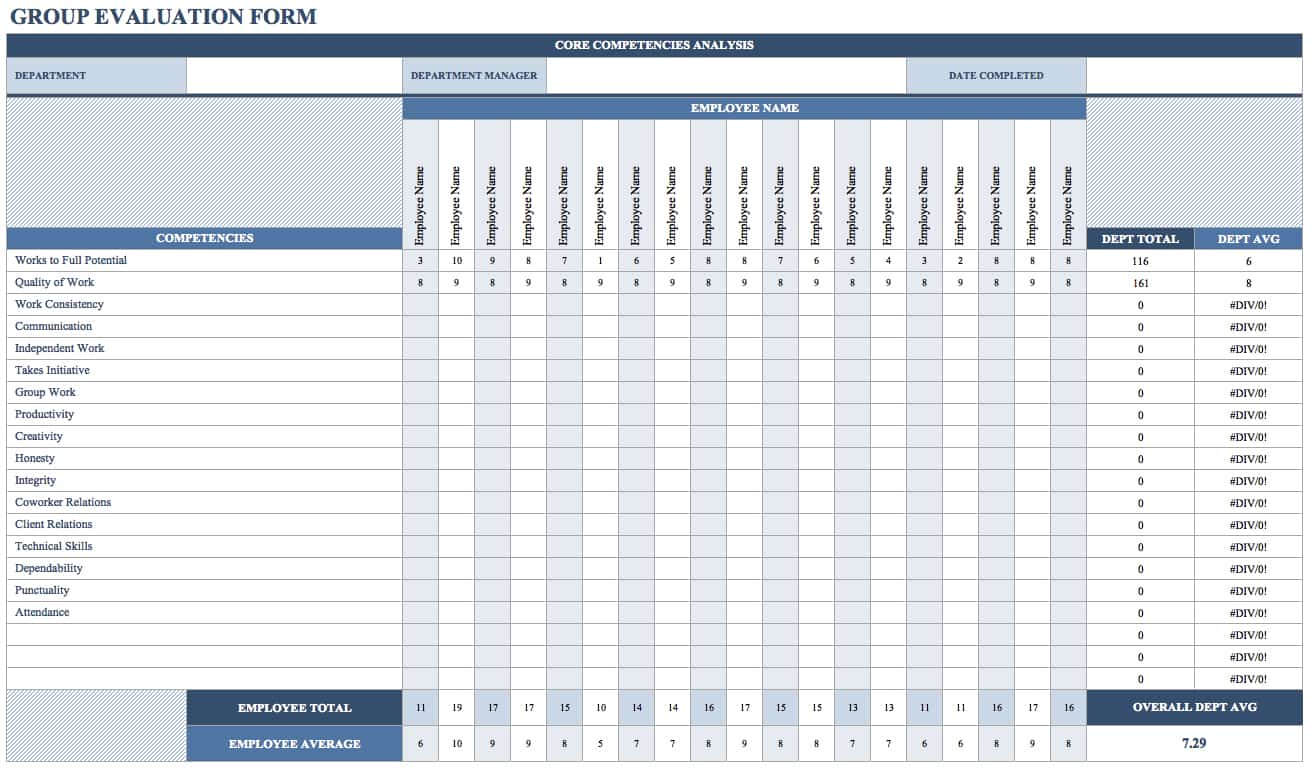 Free Employee Performance Review Templates Smartsheet – Competency Assessment Template