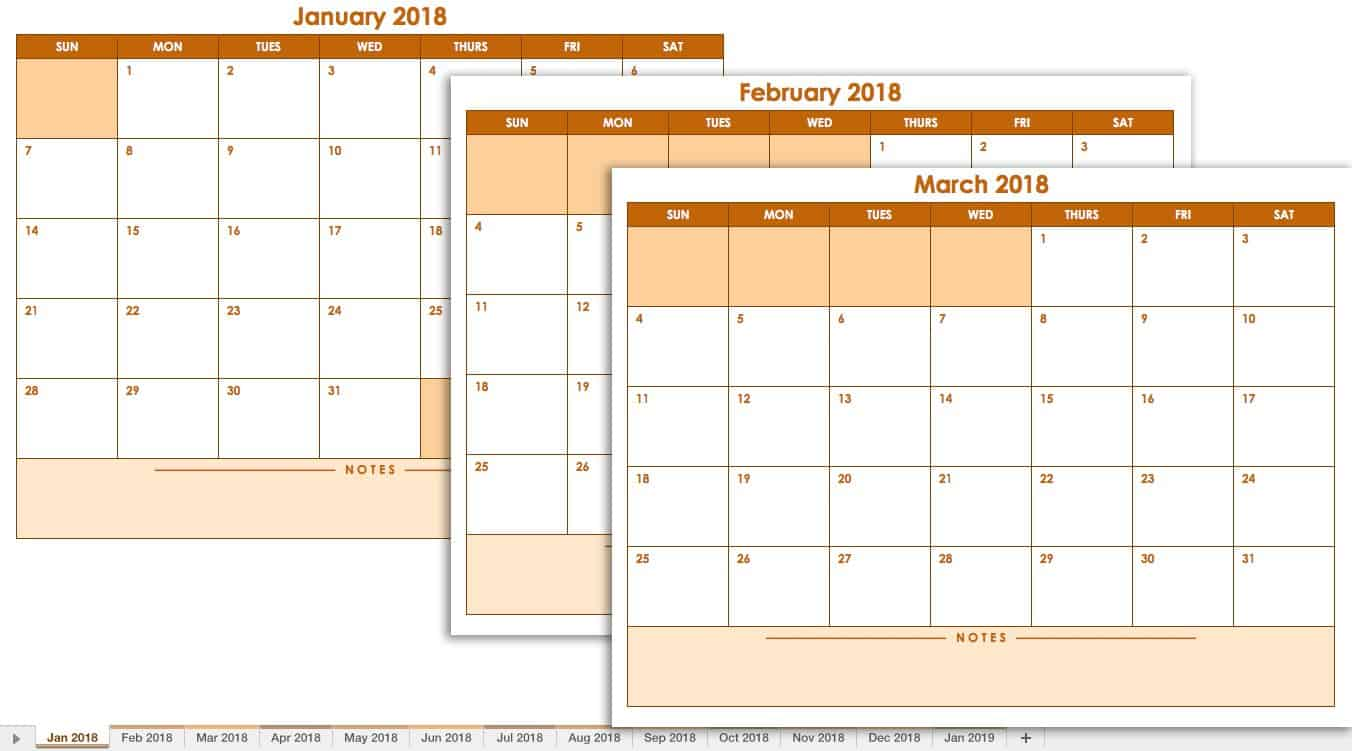 Free Excel Calendar Templates - Production calendar template