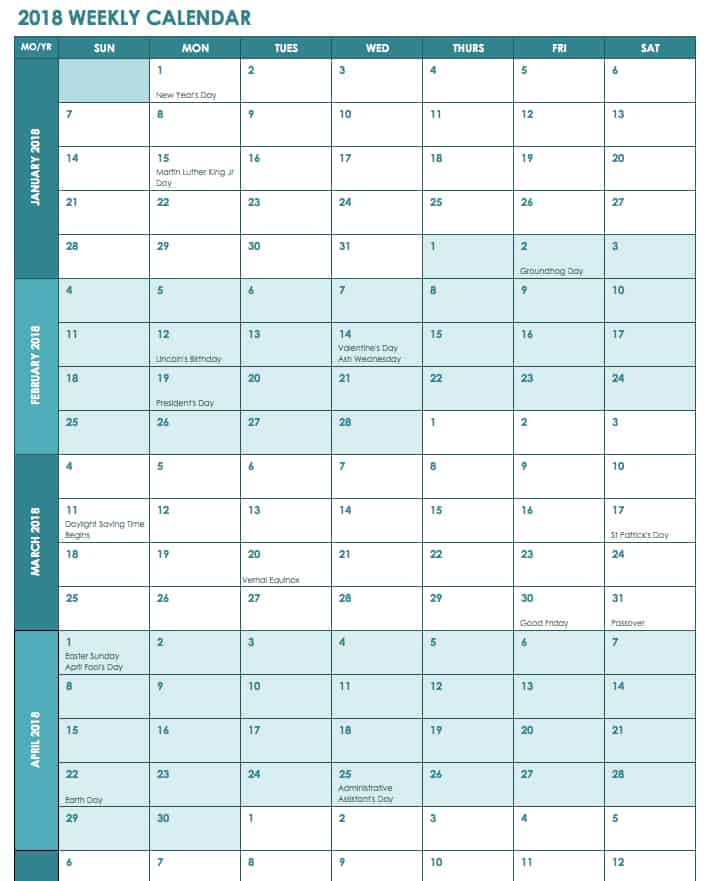 2018 Weekly Calendar with US Holidays Template