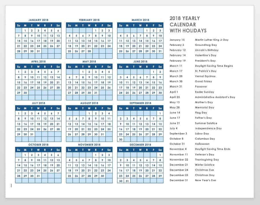 Free blank calendar templates smartsheet for Yearly vacation calendar template