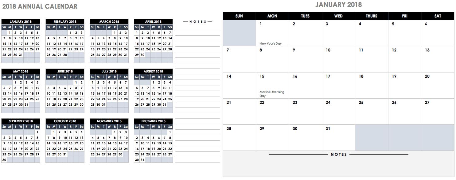 Annual Calendar 2018 Template