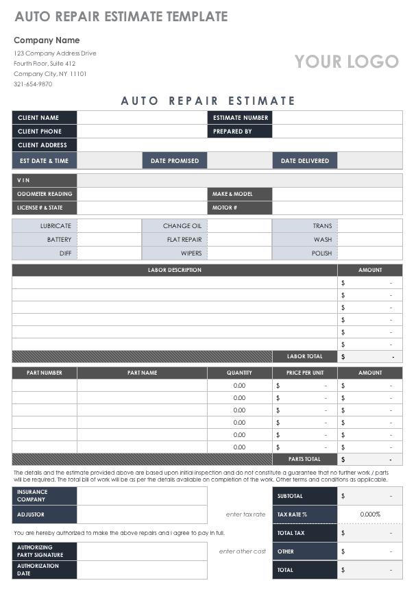 free estimate templates