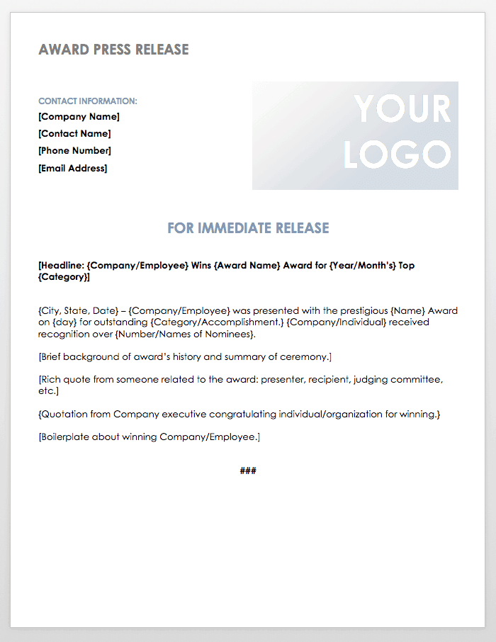 Award Press Release Template