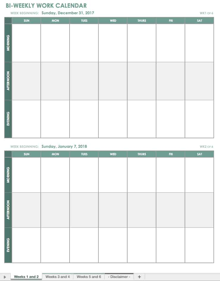 sunday through saturday calendar template