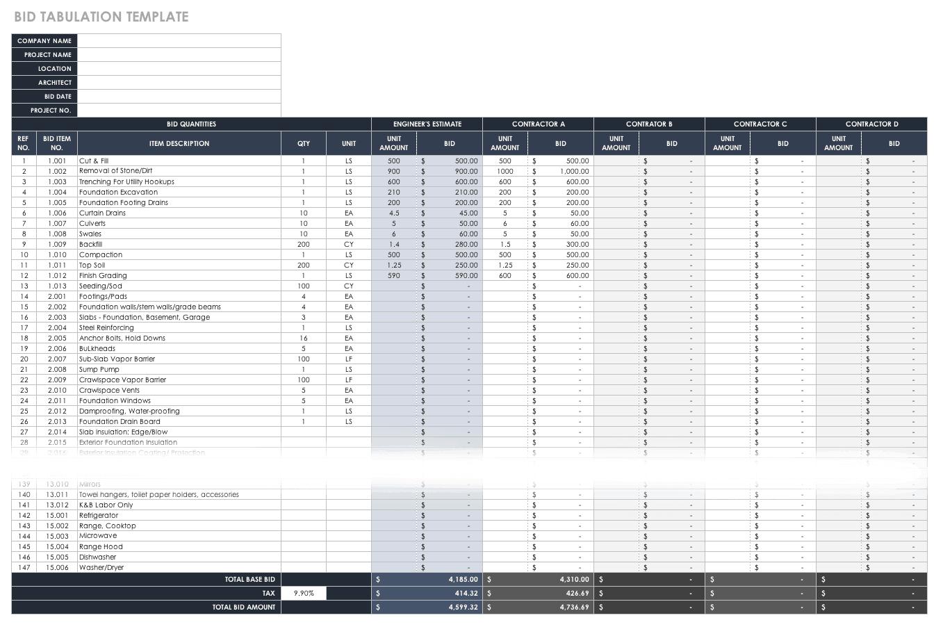 Free Estimate Templates Smartsheet